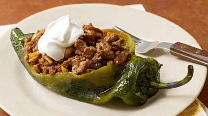 Chilies Rellenos with Sweet Picadillo