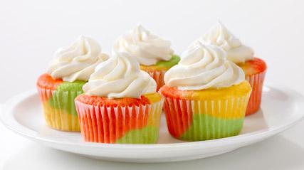 Tie Dye Fruity Cupcakes