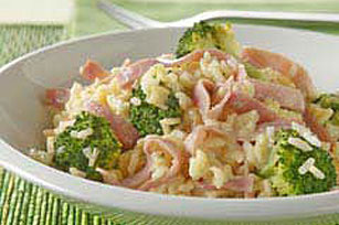 15 Minute Cheesy Rice with Ham & Broccoli