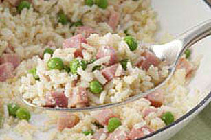 15-Minute Creamy Rice Skillet with Ham & Peas