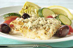 Mediterranean Baked Fish with Olives & Artichokes