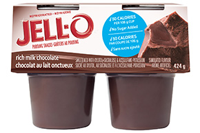 JELL-O Refrigerated Pudding Snacks No Sugar Added Chocolate 424g