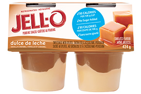 JELL-O Refrigerated Pudding Snacks No Sugar Added Dulce de Leche 424g