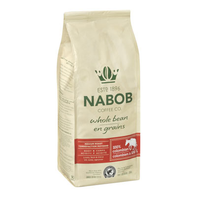 NABOB Café en grains 100 % colombien Torréfaction moyenne