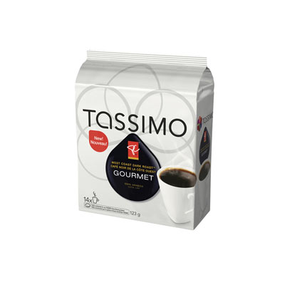 TASSIMO 123 GR PRESIDENTS CHOICE T DISC CAPSULE COFFEE-GROUND  WEST COAST DARK ROAST     1 WRAPPER EACH