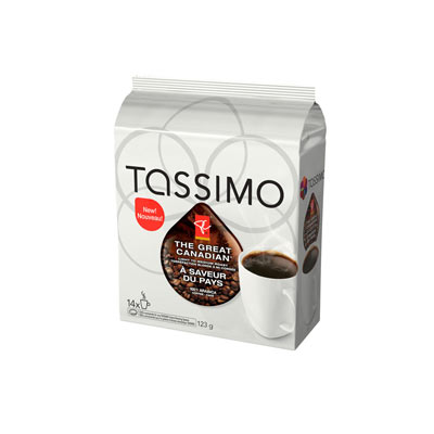 TASSIMO 123 GR PRESIDENTS CHOICE T DISC CAPSULE COFFEE-GROUND  THE GREAT CANADIAN     1 WRAPPER EACH