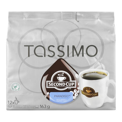TASSIMO 163 GR SECOND CUP T DISC CAPSULE COFFEE-GROUND  PARADISO     1 WRAPPER EACH