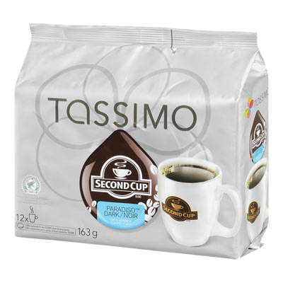 TASSIMO 163 GR SECOND CUP T DISC CAPSULE COFFEE-GROUND  PARADISO DARK     1 WRAPPER EACH