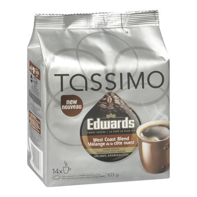 TASSIMO 103 GR EDWARDS COFFEE T DISC CAPSULE COFFEE-GROUND  WEST COAST BLEND     1 WRAPPER EACH