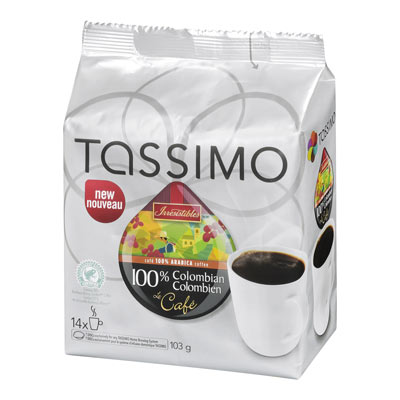 TASSIMO 103 GR IRRESISTIBLES T DISC CAPSULE COFFEE-GROUND  COLOMBIAN     1 WRAPPER EACH