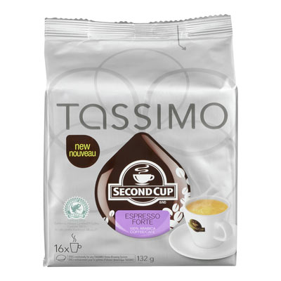 TASSIMO 132 GR SECOND CUP T DISC CAPSULE COFFEE-GROUND  ESPRESSO FORTE     1 WRAPPER EACH