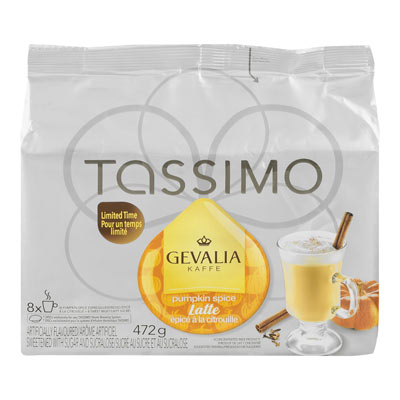 TASSIMO 472 GR GEVALIA T DISC CAPSULE COFFEE-GROUND  PUMPKIN SPICE     1 WRAPPER EACH