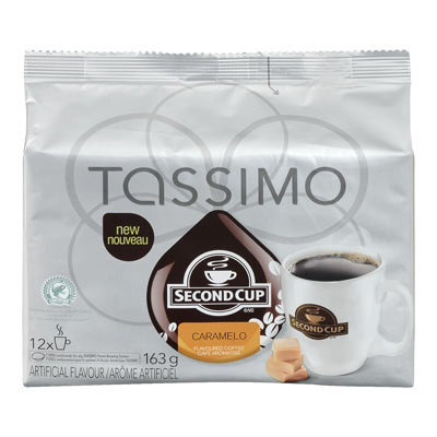 TASSIMO 163 GR SECOND CUP T DISC CAPSULE COFFEE-GROUND  CARAMELO     1 WRAPPER EACH
