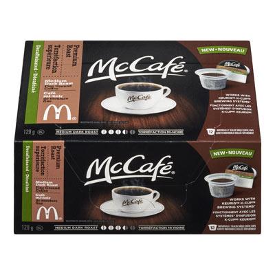 MC CAFE 129 GR COFFEE PODS DECAFFEINATED PREMIUM ROAST     1 BOX/CARTON EACH