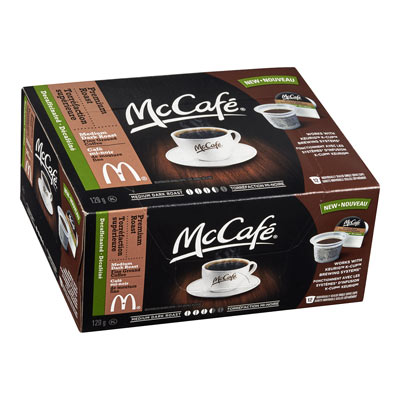 MC CAFE 129 GR COFFEE PODS DECAFFEINATED PREMIUM ROAST     1 BOX/CARTON EACH