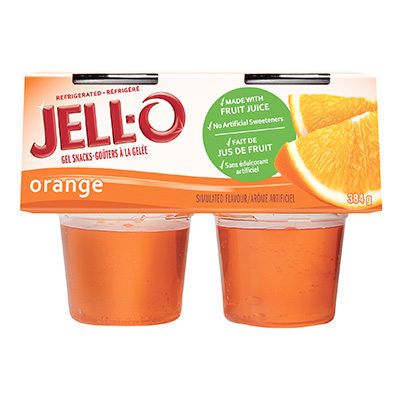 JELL-O Refridgerated Gel Snacks Orange 384g