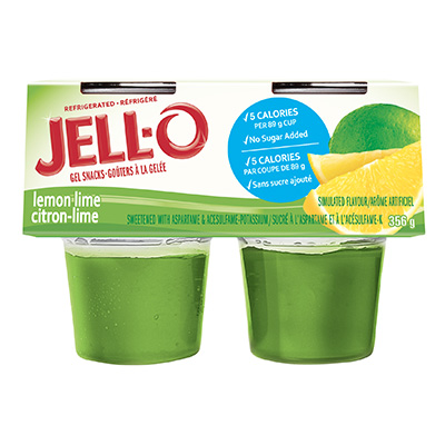 JELL-O Refrigerated Gel Snacks No Sugar Added Lemon Lime 356g