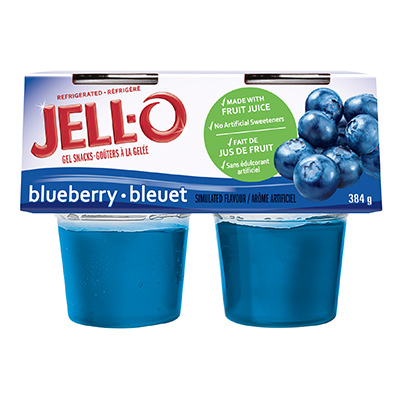 JELL-O Refridgerated Gel Snacks Blueberry 384g