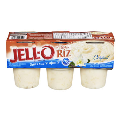JELL-O 636 GR PUDDING-REFRIGERATED READY TO EAT NO ADDED SUGAR RICE     1 WRAPPER EACH