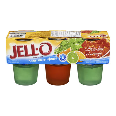 JELL-O Refrigerated LIME & Orange Gelatin Snacks