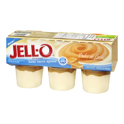 JELL-O Refrigerated No Sugar Added Dulce Leleche (Vanilla Caramel Sundae) Pudding Snacks