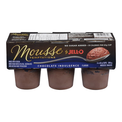 JELL-O Mousse Temptations No Sugar Added Chocolate Indulgence Mousse