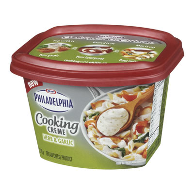 PHILADELPHIA 270 GR COOKING CREME  HERB AND GARLIC     1 TUB EACH