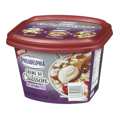 PHILADELPHIA 270 GR COOKING CREME  SAVORY GARLIC     1 BOWL/CUP/TUB EACH