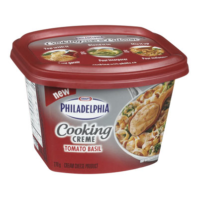 PHILADELPHIA 270 GR COOKING CREME  TOMATO AND BASIL     1 BOWL/CUP/TUB EACH