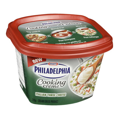 PHILADELPHIA 270 GR COOKING CREME  THREE CHEESE ITALIAN     1 BOWL/CUP/TUB EACH