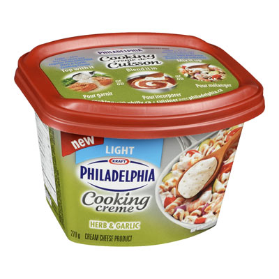 PHILADELPHIA 270 GR COOKING CREME LIGHT HERB AND GARLIC     1 TUB EACH