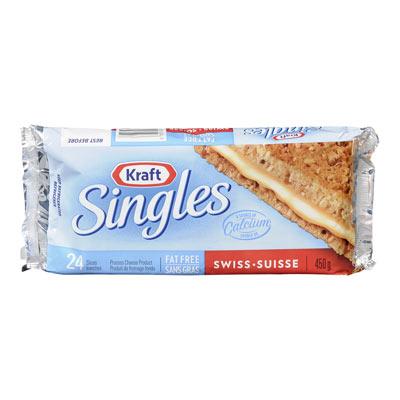 KRAFT SINGLES Tranches de fromage Suisse sans gras