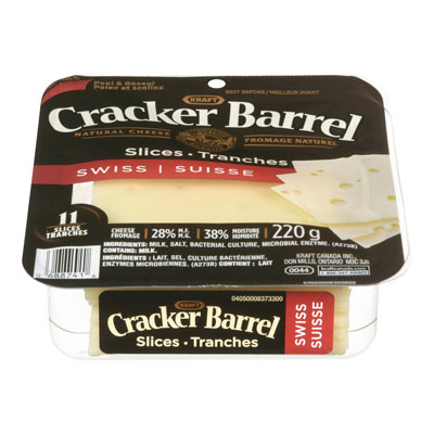 CRACKER BARREL Tranches de fromage naturel Suisse