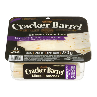 CRACKER BARREL, Tranches de fromage naturel Monterey Jack avec Jalapeno