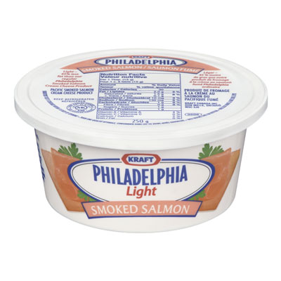 PHILADELPHIA 250 GR CREAM CHEESE LIGHT SMOKED SALMON     1 TUB EACH