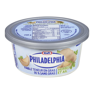 PHILADELPHIA 250 GR CREAM CHEESE-SOFT 95% FAT FREE HERB AND GARLIC     1 TUB EACH