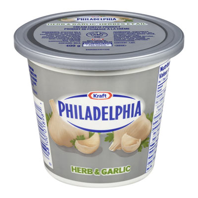 PHILADELPHIA 400 GR CREAM CHEESE-SOFT  HERB AND GARLIC     1 BOWL/CUP/TUB EACH