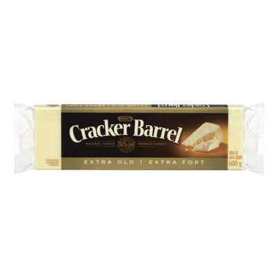 CRACKER BARREL 600 GR NATURAL CHEESE-BARS  EXTRA OLD CHEDDAR WHITE     1 WRAPPER EACH