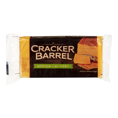 CRACKER BARREL 270 GR NATURAL CHEESE-BARS  MEDIUM CHEDDAR COLORED      WRAPPER EACH