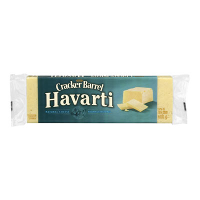 CRACKER BARREL 600 GR NATURAL CHEESE-BARS  HAVARTI     1 WRAPPER EACH