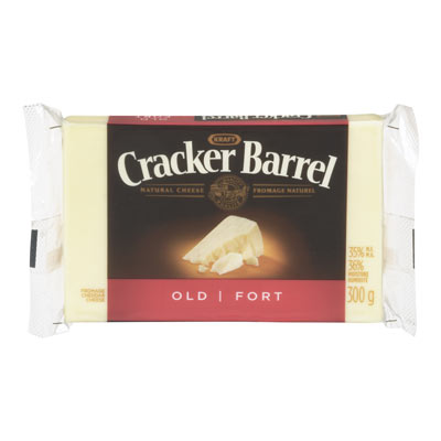CRACKER BARREL 300 GR NATURAL CHEESE-BARS  OLD CHEDDAR WHITE     1 WRAPPER EACH