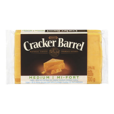 CRACKER BARREL 300 GR NATURAL CHEESE-BARS LIGHT OLD CHEDDAR COLORED     1 WRAPPER EACH
