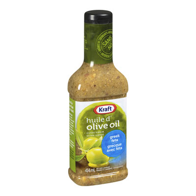 KRAFT 414 ML DRESSING-LIQUID  GREEK FETA WITH EXTRA VIRGIN OLIVE OIL     1 BOTTLE EACH