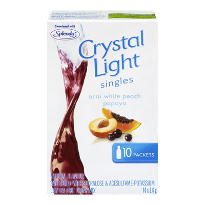 CRYSTAL LIGHT 36 GR SINGLES SOFT DRINK-POWDERED  PAPAYA PEACH-CALCIUM/VITAMINS     1 BOX/CARTON EACH