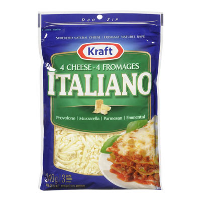 KRAFT 340 GR NATURAL CHEESE-SHREDS  FOUR CHEESE ITALIANO     1  EACH