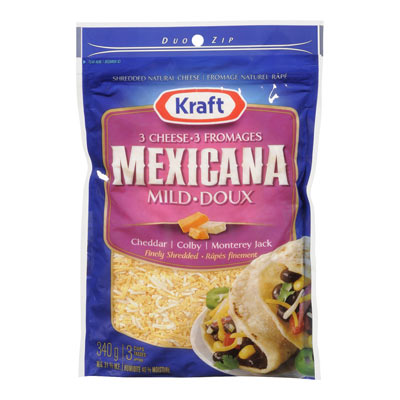 KRAFT 340 GR NATURAL CHEESE-SHREDS  3-CHEESE MEXICANA     1  EACH