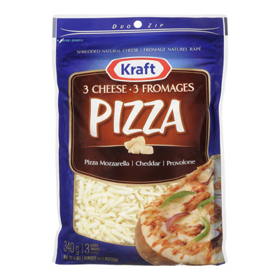 KRAFT 340 GR NATURAL CHEESE-SHREDS  3-CHEESE PIZZA     1  EACH