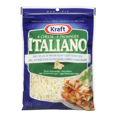 KRAFT Light 4-Cheese Italiano Shredded Cheese