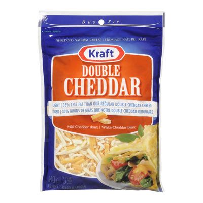 KRAFT 340 GR NATURAL CHEESE-SHREDS LT/38% LF DOUBLE CHEDDAR     1  EACH