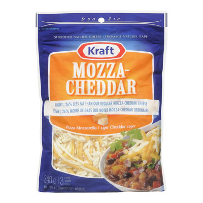 KRAFT Fromage Mozza-cheddar l�ger r�p� 340�g